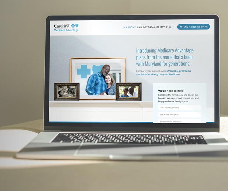CareFirst landing page on laptop