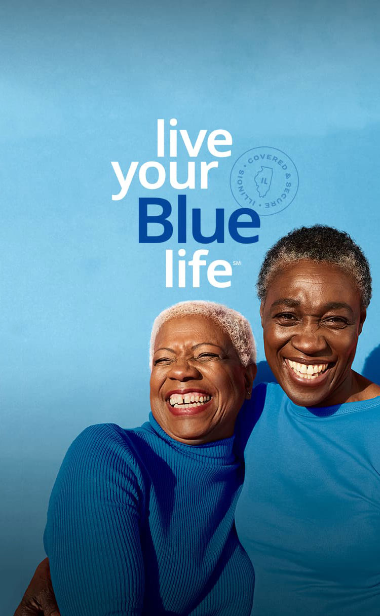 Two senior women smiling - live your Blue life