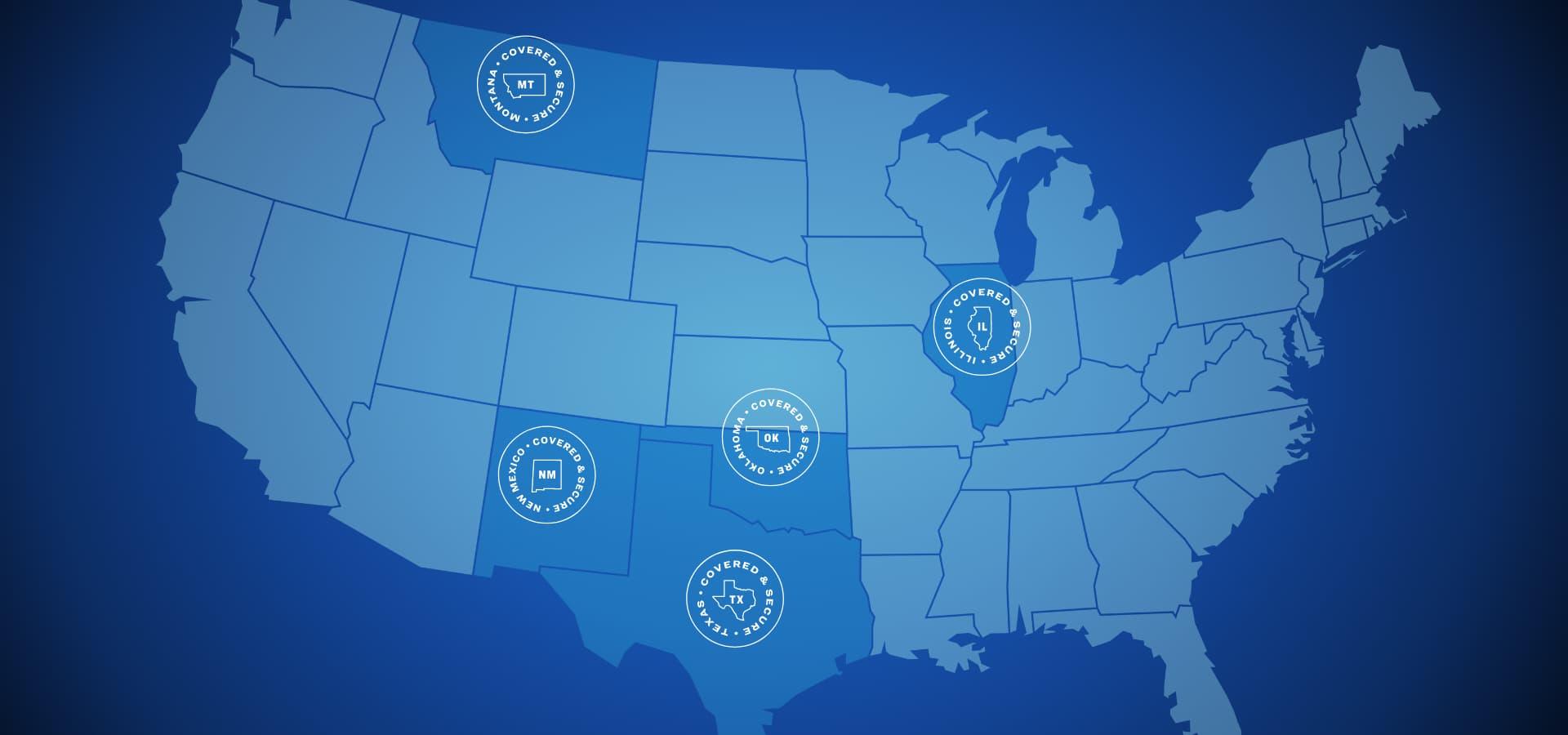 Map of states HCSC serves