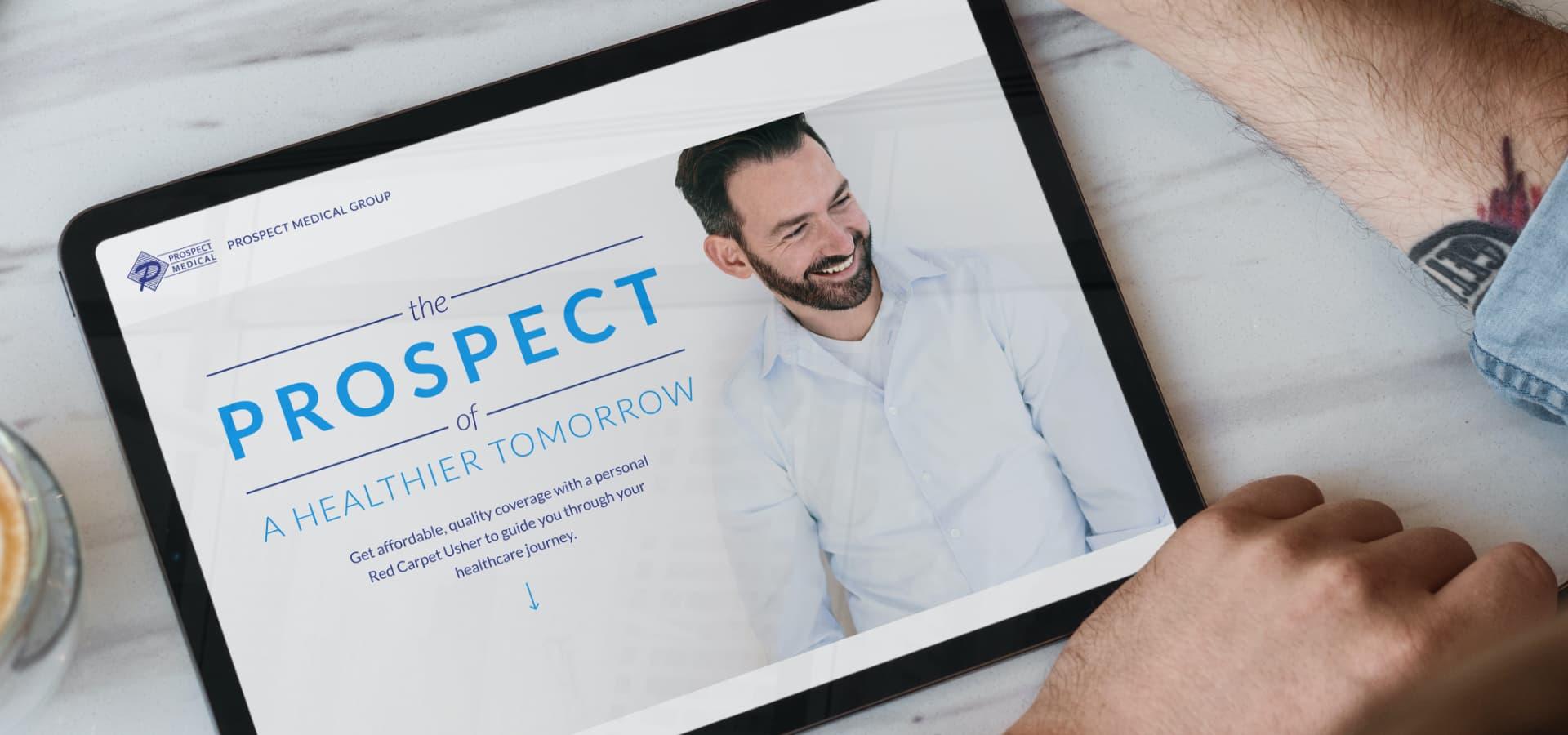 Prospect Medical landing page on tablet