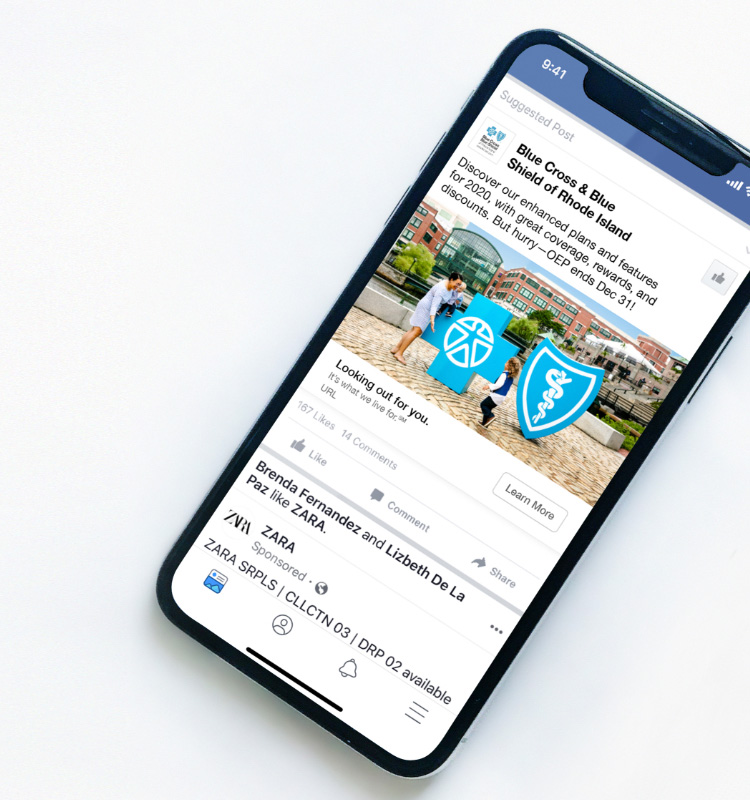 BCBSRI social ad on mobile device