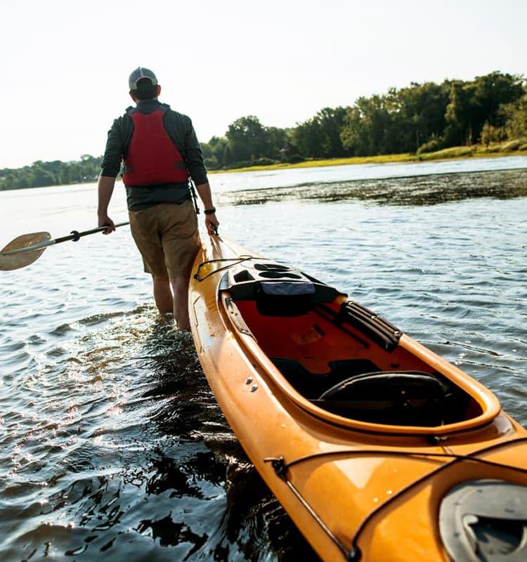 Vermont man with canoe